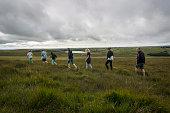 United Kingdom, England, Cornwall, Hikers at Bodmin Moor