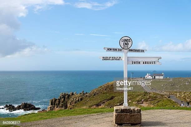 United Kingdom, England, Cornwall, Lands End, Cornish cliff coast, Signpost