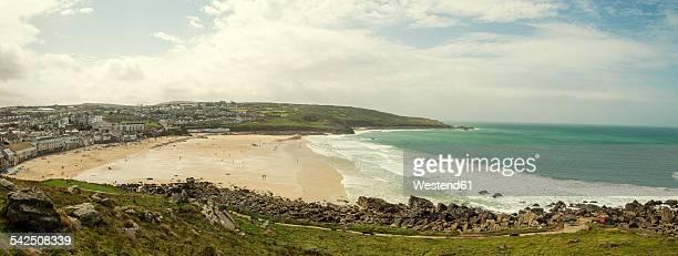 United Kingdom, England, Cornwall, St Ives, Porthmeor Beach, Panorama