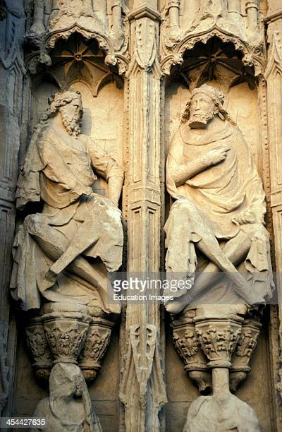 United Kingdom England Devon Exeter Cathedral Facade Sculptural Relief Of Two Figures With Crowns
