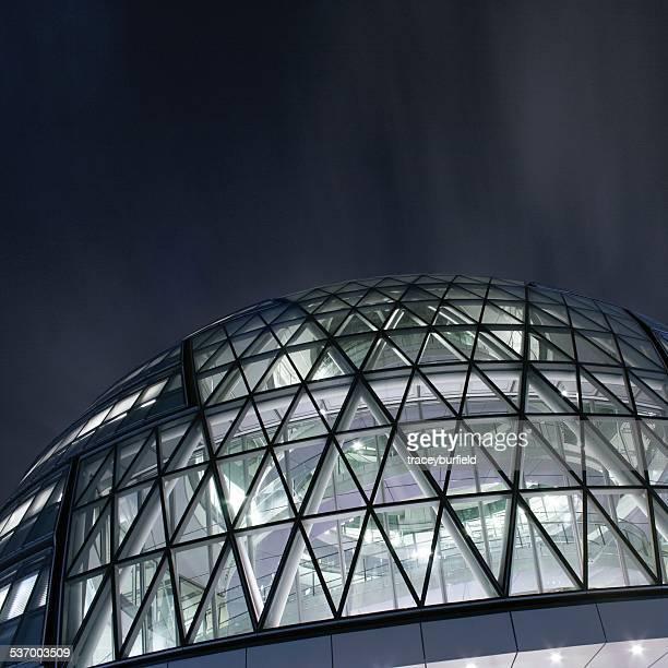 United Kingdom, England, London, Bermondsey, Partial view of illuminated City Hall building