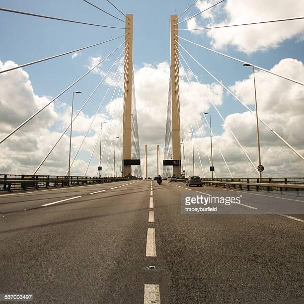 United Kingdom, England, London, Dartford Crossing, View along traffic lanes of Dartford Bridge