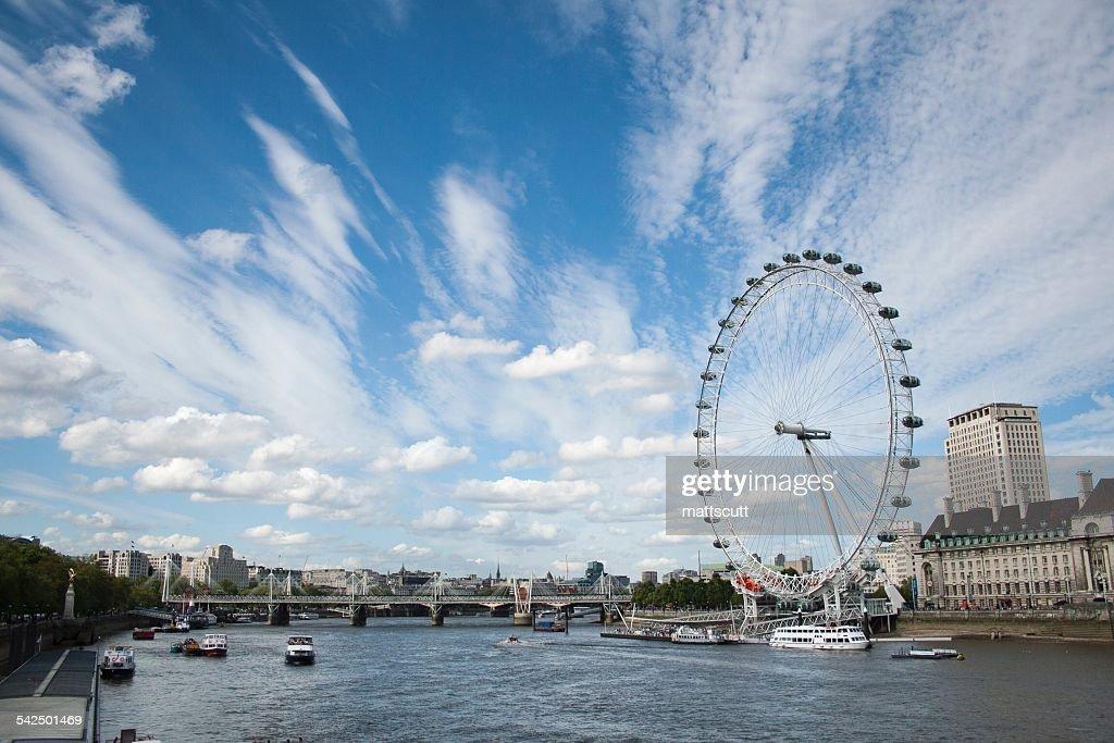 United Kingdom, England, London, London Eye seen from across River Thames