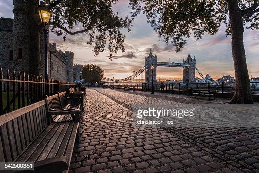 United Kingdom, England, London, Tower Bridge and Tower of London at sunrise