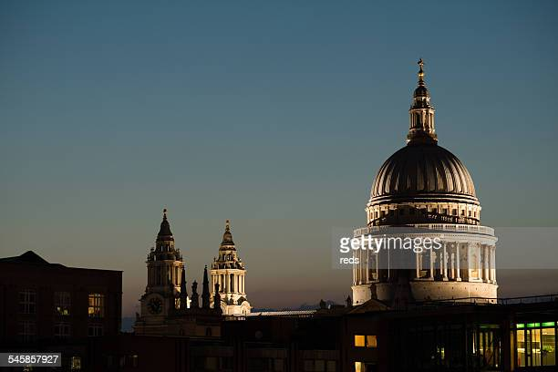 United Kingdom, England, London, View of St. Paul's Cathedral at dusk