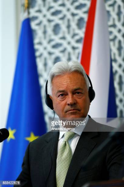United Kingdom Foreign Office Minister Alan Duncan holds a joint press conference with Minister for European Union Affairs of Turkey Omer Celik after...