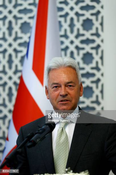United Kingdom Foreign Office Minister Alan Duncan speaks during a joint press conference with Minister for European Union Affairs of Turkey Omer...