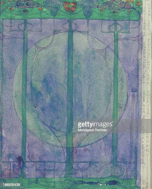 United Kingdom Glasgow School of Art Whole artwork view A stylized tree according to liberty dictates and made with an essential game between blue...