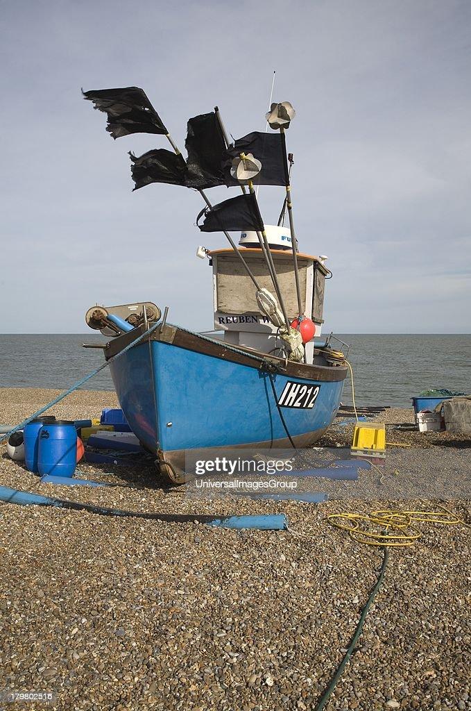 United Kingdom Great Britain Suffolk Blue Fishing Boat on Beach