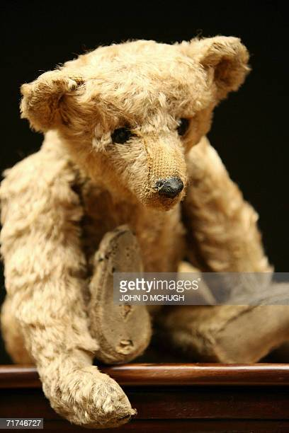 'Growler' a Steiff rodbear circa 1904 is pictured at Christies auction house in central London 30 August 2006 Author and former British Member of...