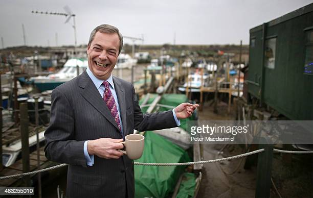 United Kingdom Indepedence Party leader Nigel Farage drinks a cup of tea outside The Little Green Tearoom at the Smallgains boatyard as he campaigns...