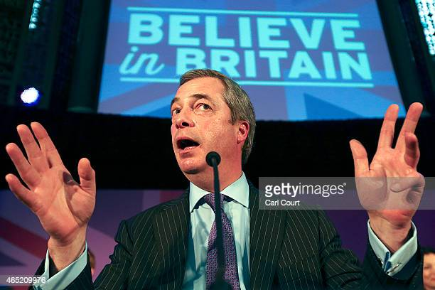 United Kingdom Independence Party leader Nigel Farage speaks during a conference in which the party's immigration policy was unveiled on March 4 2015...