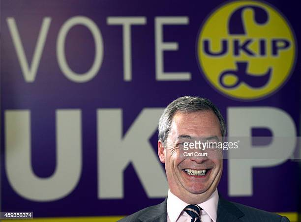 United Kingdom Independence Party leader Nigel Farage speaks during an interview in the UKIP office on November 21 2014 in Rochester England UKIP now...