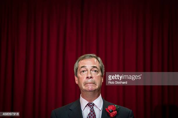 United Kingdom Independence Party leader Nigel Farage speaks to members of the public at a soldout public meeting at Hoo Village Institute on...