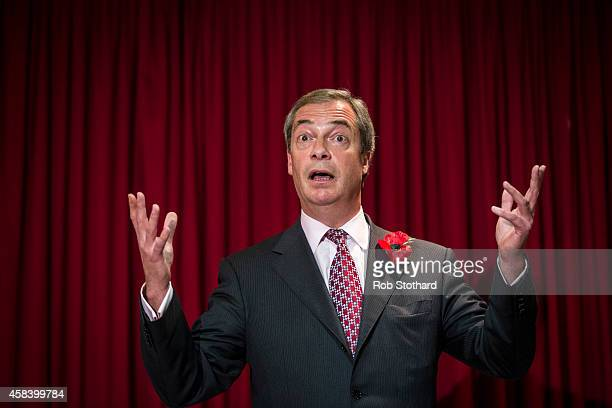 United Kingdom Independence Party leader Nigel Farage speaks to members of the public at a soldout public meeting Hoo Village Institute on November 4...