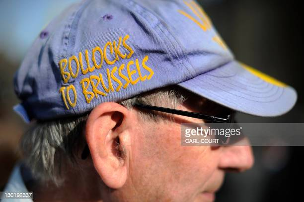 A United Kingdom Independence Party supporter holdin a cap with an eurosceptic's slogan as he takes part in a demonstration outside the Houses of...