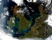 'This true-color MODIS image showcases Northern Europe. Shown are the United Kingdom, the Republic of Ireland, northern France, Belgium, Luxembourg, Western Germany, the Netherlands, Denmark, Sweden,