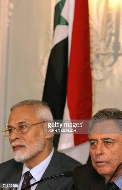 Leader of the muslim brotherhood in Syria Ali Sadreddin Bayanouni and former Syrian vicepresident Abdul Halim Khaddam take questions from the media...