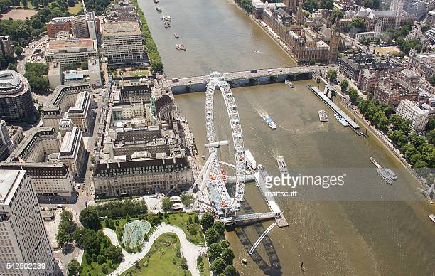 United Kingdom, London, Aerial view of River Thames with London Eye and Westminster Bridge
