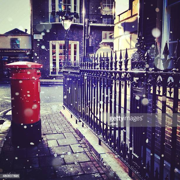 United Kingdom, London, Greater London, Post box and iron railing
