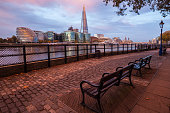 United Kingdom, London, View from North Bank of River Thames looking south, waterfront with Shard skyscraper