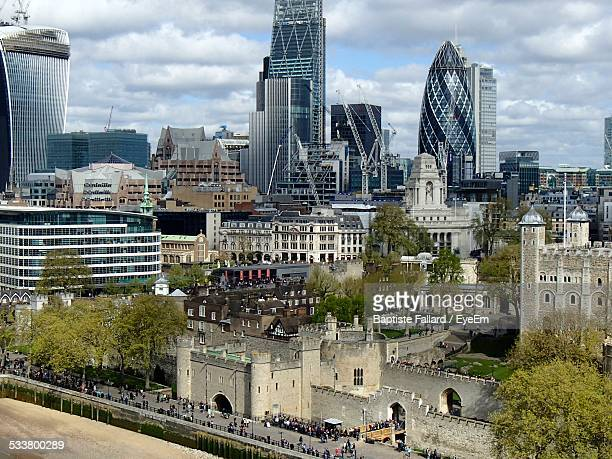 United Kingdom, London, View To Sir Norman Foster Building, With Tower In Foreground