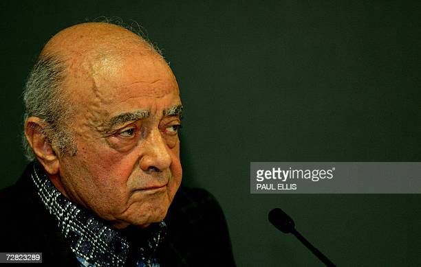 Mohamed AlFayed father of Dodi alFayed who died in a car crash with Princess Diana in 1997 speaks at a press conference at Harrods in central London...