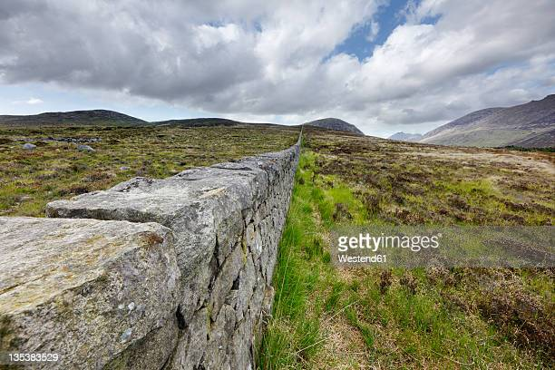 United Kingdom, Northern Ireland, County Down, Mourne Mountains, View of Mourne Wall
