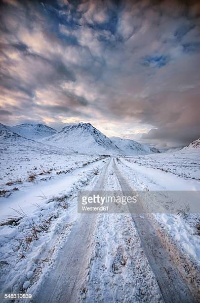 United Kingdom, Scotland, Glencoe, Glen Etive, road in winter