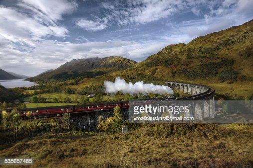 United Kingdom, Scotland, Highland, Glenfinnan, A830, Glenfinnan Viaduct, Steam train passing viaduct