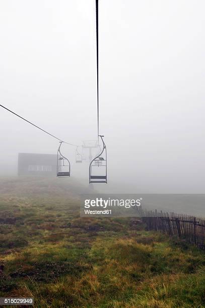 United Kingdom, Scotland, Highlands, Cable car in the fog