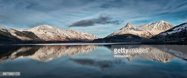 United Kingdom, Scotland, Loch Linnhe and Pap of Glencoe mountain, Panorama