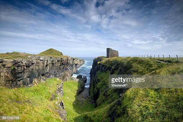 United Kingdom, Scotland, Wick, Castle of Old Wick on the North Sea Coast