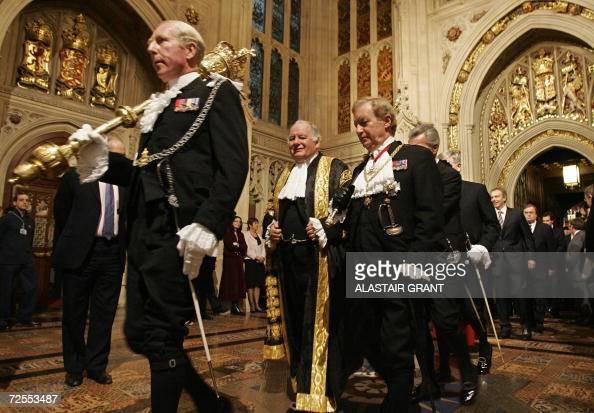 The Mace is carried back to the House of Commons followed by Black Rod and the Speaker of the House of Commons Michael Martin following the...