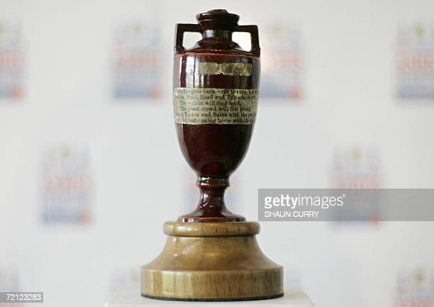 The original cricket 'Ashes Urn' is pictured at Lords cricket ground in London 09 October 2006 The urn will form a part of an 'Ashes exhibition' that...