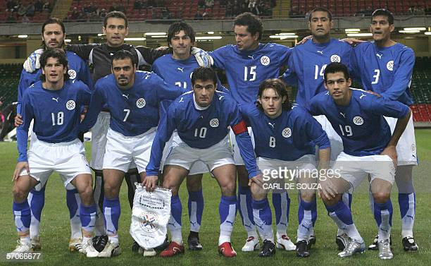 The Paraguayan soccer team line up before their international friendly match against Wales at the Millenium Stadium in Cardiff Wales 01 March 2006...