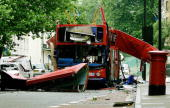 The wreck of the Number 30 doubledecker bus is pictured in Tavistock Square in central London 08 July 2005 The chances of preventing the July 7...