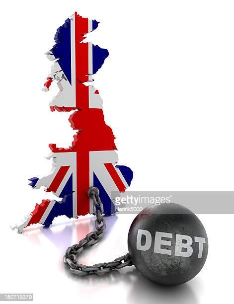 Vereinigte Königreich mit den ball und Kette von Schulden, isoliert