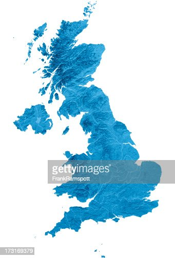 United Kingdom Topographic Map Isolated
