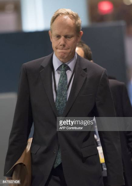 United Kingdom's Ambassador to the United Nations Matthew Rycroft arrives for a Security Council meeting on North Korea on September 15 at the United...
