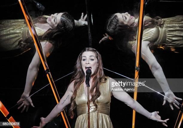 United Kingdom's representative for Eurovision 2017 Lucie Jones performs on the stage during a dress rehearsal of first semifinal of the Eurovision...