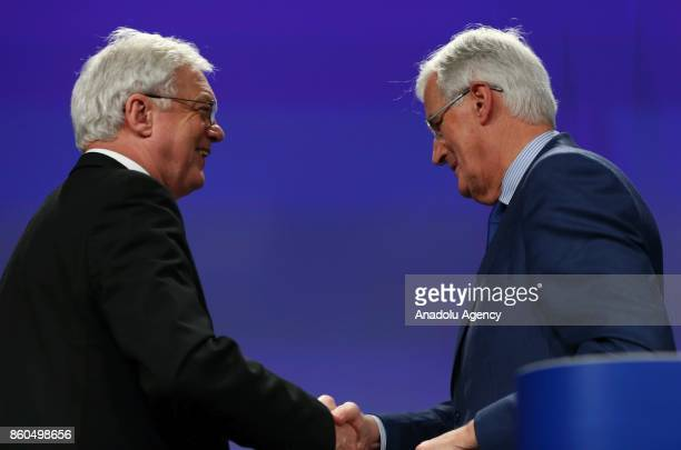 United Kingdom's Secretary of State for Exiting the European Union David Davis and European Chief Negotiator for Brexit Michel Barnier hold a joint...