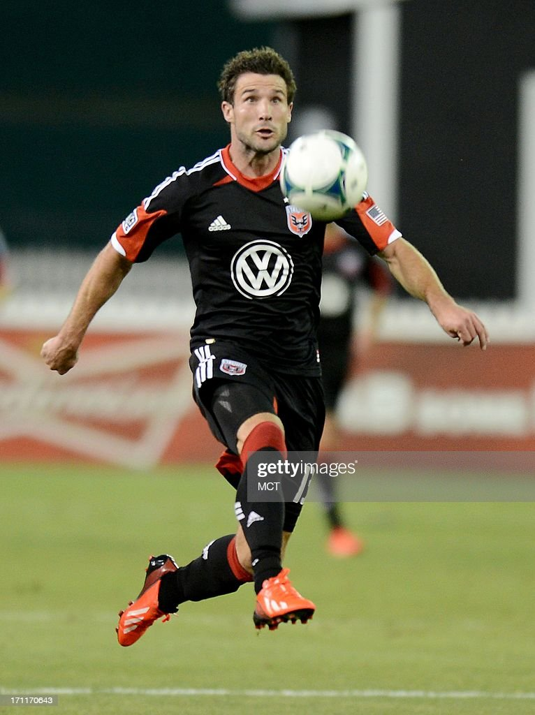 D.C. United midfielder Chris Pontius (13) breaks after the ball in open field during the second half against the San Jose Earthquakes at RFK Stadium in Washington, D.C., Saturday, June 22, 2013. United defeated the Quakes, 1-0.