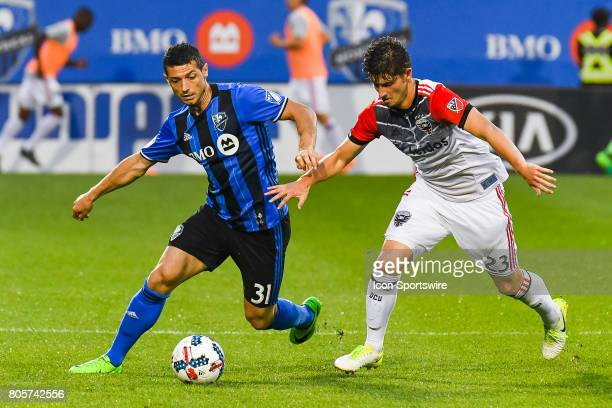 C United midfielder Ian Harkes catching up on Montreal Impact midfielder Blerim Dzemaili in control of the ball during the DC United versus the...