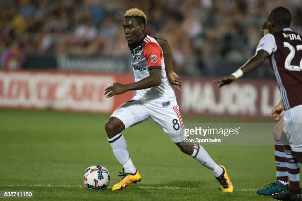 C United midfielder Lloyd Sam dribbles during the Colorado Rapids game vs the DC United on August 19 2017 at Dick's Sporting Goods Park in Denver CO