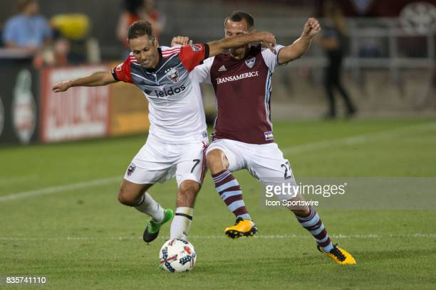 C United midfielder Marcelo Sarvas and Colorado Rapids midfielder Luis Gill battle for the ball during the Colorado Rapids game vs the DC United on...