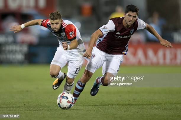 C United midfielder Paul Arriola and Colorado Rapids defender Eric Miller battle for the ball during the Colorado Rapids game vs the DC United on...