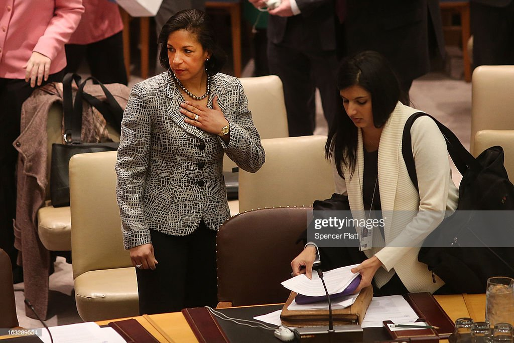 U.S. United Nations Ambassador <a gi-track='captionPersonalityLinkClicked' href=/galleries/search?phrase=Susan+Rice&family=editorial&specificpeople=5458775 ng-click='$event.stopPropagation()'>Susan Rice</a> (L) prepares to vote at a U.N. Security Council meeting on imposing a fourth round of sanctions against North Korea in an attempt to halt its nuclear and ballistic missile programs on March 7, 2013 in New York City. North Korea vowed today to launch a preemptive nuclear strike against the United States.
