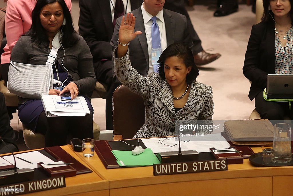 U.S. United Nations Ambassador <a gi-track='captionPersonalityLinkClicked' href=/galleries/search?phrase=Susan+Rice&family=editorial&specificpeople=5458775 ng-click='$event.stopPropagation()'>Susan Rice</a> votes at a U.N. Security Council meeting on imposing a fourth round of sanctions against North Korea in an attempt to halt its nuclear and ballistic missile programs on March 7, 2013 in New York City. North Korea vowed today to launch a preemptive nuclear strike against the United States.