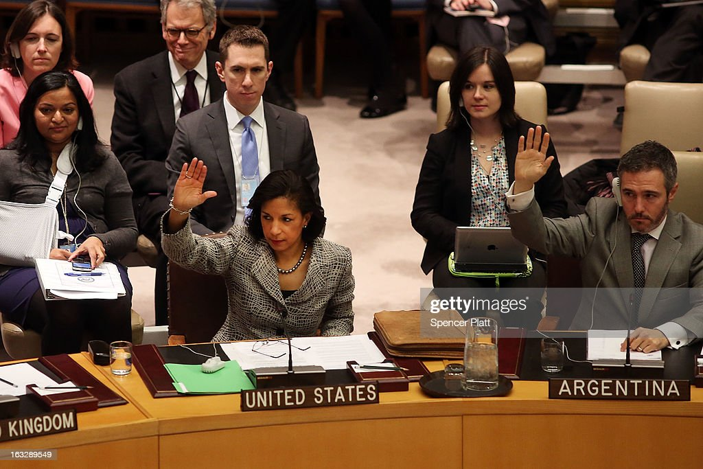 U.S. United Nations Ambassador Susan Rice (3R) votes at a U.N. Security Council meeting on imposing a fourth round of sanctions against North Korea in an attempt to halt its nuclear and ballistic missile programs on March 7, 2013 in New York City. North Korea vowed today to launch a preemptive nuclear strike against the United States.